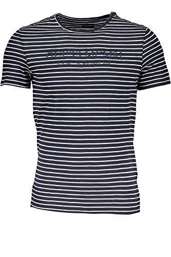 Guess Ethan Cn SS tee Camiseta, Azul Navy Blue Stripe S7p1, XXL para Hombre