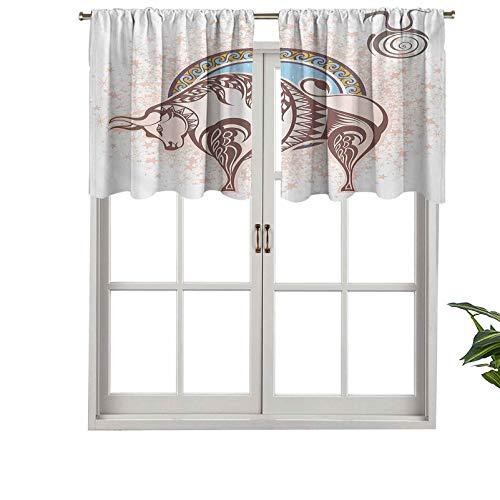 Hiiiman Cortinas cortas opacas con bolsillo para barra, icono de Taurus con figura de toro en predicción Grungy, juego de 2, cenefas pequeñas de media ventana de 106,7 x 91,4 cm para cocina