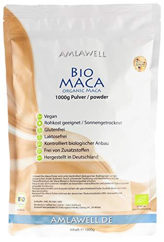 Amlawell Bio-Maca-Pulver aus Peru / 1kg in Deutschland abgepackt/kontrolliert biologischer Anbau/BIO - DE-ÖKO-039 (1000g)