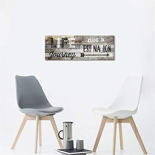 KuyiArt-Family Decorative Signs Life is A Journey Inspiration Motto Wall Art Canvas Prints Poster for Home Living Room Bedroom Kitchen Modern Wall Decoration Art Ready to Hang (6x17inch)