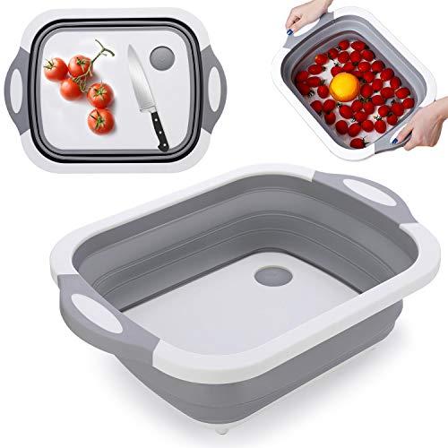 iKINLO - Tabla de cortar 3 en 1 plegable, cesta de almacenamiento portátil, para camping, cocina, cocina, caravana
