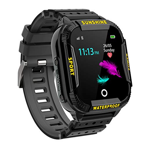 Kinder Intelligente Uhr Wasserdicht, Smartwatch WiFi Tracker mit Kinder SOS Handy Touchscreen Spiel Kamera Voice Chat Wecker für Jungen Mädchen Student Geschenk (K22 Schwarz)
