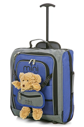 MiniMAX Childrens/Kids Cabin Luggage Carry On Trolley Suitcase Backpack Includes Teddy Bear/Cuddly Soft Toy (Blue/Teddy)