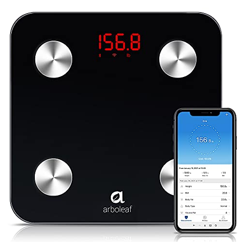 Arboleaf Body Fat Scale Smart Digital Scale BMI Scales for Body Weight, Body Composition Scales with Smartphone App sync with Wi-Fi and Bluetooth for Body Weight, Fat, Water, BMI, BMR