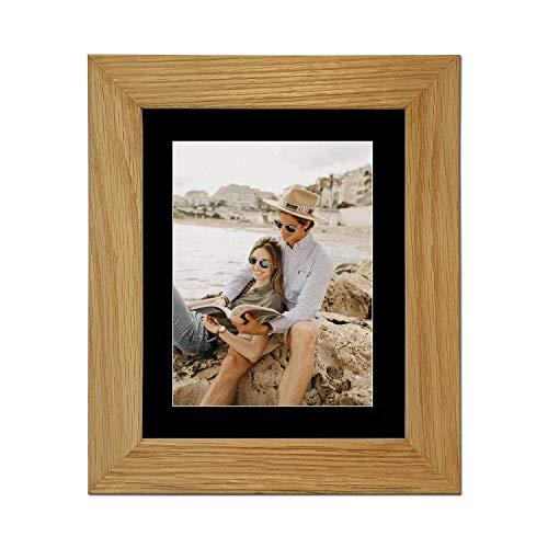 Echt eiken natuur massief houten fotolijst en posterlijst, (40,6 x 30,5 cm) voor (30,5 x 20,3 cm) met zwarte passe-partout