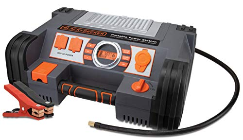 BLACK+DECKER PPRH5B Portable Power Station Jump Starter: 1000Peak/450 Instant Amps, 500W Inverter, 120 PSI Air Compressor, Battery Clamps