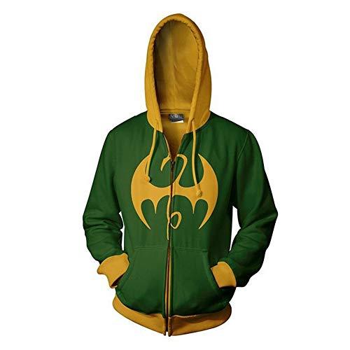 RJHWY 3D Hoodie Sweatshirt Unisex Pullover Kapuzenjacke Kleidung Mantel Reißverschluss Iron Fist L