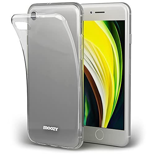 Moozy Cover Protezione 360 Gradi per iPhone SE 2020, iPhone 7 e iPhone 8 Silicone Trasparente - Full Body Custodia TPU Case Copertura Completa