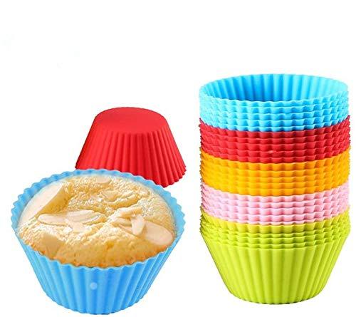 Suny Smiling - Moldes de silicona antiadherentes para magdalenas, 25 moldes de silicona reutilizables para hornear, moldes para tartas y magdalenas, 5 colores