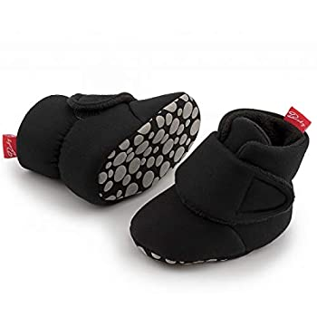 Zoolar Newborn Infant Baby Girl Boy Cotton Booties Stay On Sock Slippers Soft Shoes Non-Skid Ankle Boots with Grippers Toddler Crib Winter Shoe First Walker Birthday Shower Gift