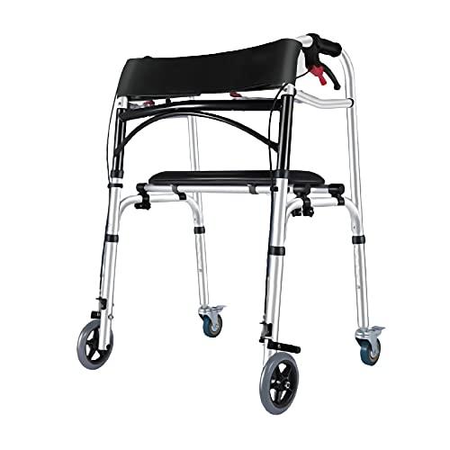 PTY Andador Para Ancianos Andador Ligero Plegable De Aluminio Con 2/4 Ruedas, Andador, Bastidor Para Caminar Con Asiento Acolchado, Asistente De Paso De Altura Ajustable Para Personas Mayores Y Adulto