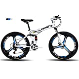 WLKQ Vélo électrique 24 Pouces Repliable pour vélo, Nouveau vélo de Montagne 2019 Pliant Absorption des Chocs Haute résistance et 21 Vitesses,Blanc