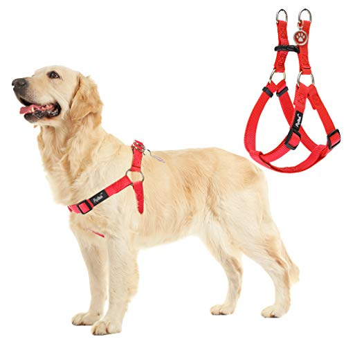 PUPTECK No Pull Dog Harness Reflective Adjustable Basic Nylon Step in Puppy Vest Outdoor Walking with ID Tag