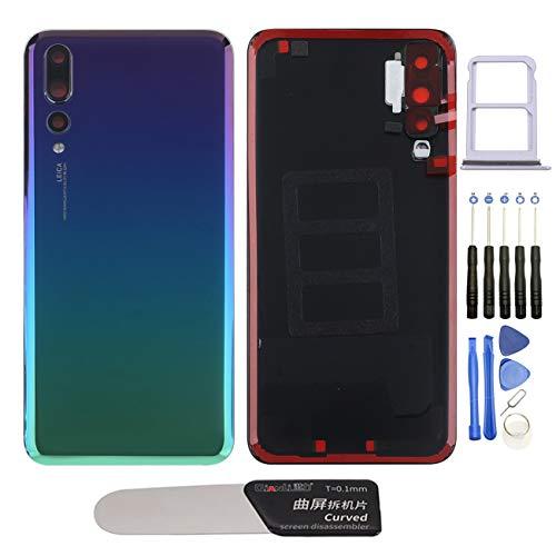 YHX-OU Tapa de batería de 6,1 pulgadas, apta para Huawei P20 Pro, repuesto de la carcasa trasera + herramienta de instalación (color azul oscuro)