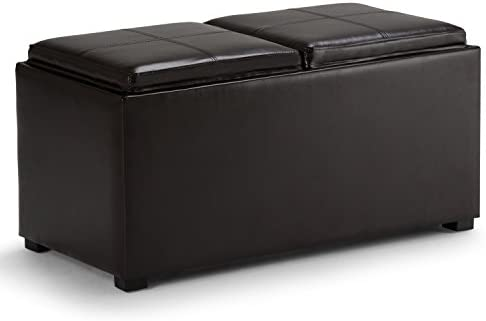 Best Simpli Home Avalon 35 inch Wide Rectangle 5 Pc Storage Ottoman with 2 serving Trays in Upholstered T