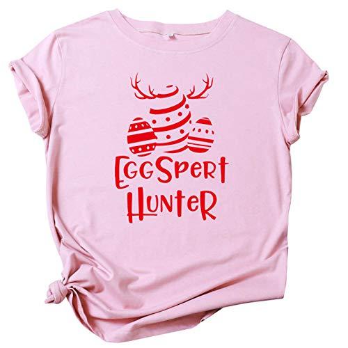Judeyuan Camisa de Mujer de Pascua, Tallas Grandes de Pascua de Manga Corta con Cuello en O de Impresión Blusa Informal Tops de Camiseta Rosado XXXXL 2021 Último