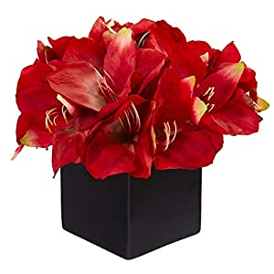 Nearly Natural 9in. Amaryllis Artificial Black Vase Silk Arrangements, Red
