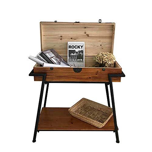 oupai MESAS Porche Trapezoidal Tabla Consola de Mesa, de Hierro Forjado de Madera Gabinete Lateral Retro Mesa for Sofá con Cajón Decoración de la Tabla Negro/Rust 30 × 15 × 30 Pulgadas para el dormi