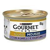 Purina Gourmet Gold Mousse para Gatos con Cordero y judías exquisitas, 24 latas de 85 g Cada una de Las 24 Unidades de 85 g