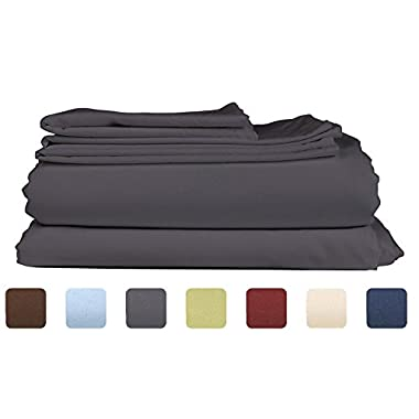Full Size Sheet Set - 4 Piece - Hotel Luxury Bed Sheets - Extra Soft - Deep Pockets - Easy Fit - Breathable & Cooling Sheets - Wrinkle Free - Comfy – Dark Grey Bed Sheets - Fulls Sheets – 4 PC
