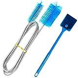 Miystn Cepillo Esponja Acuario, 2 Piezas Limpieza Acuario Cepillo y 1 Pieza Cepillo Limpieza Doble Punta, Limpia tuberias, para La Piscicultura (Azul)