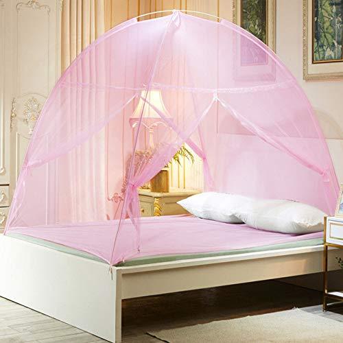 MLDSJQJ Cama de Dormitorio para Estudiantes Tienda de campaña Mosquitera para Acampar al Aire Libre Habitación Plegable Mosquitera Cama Doble Red | Mosquitera,Pink,220x180x150cm