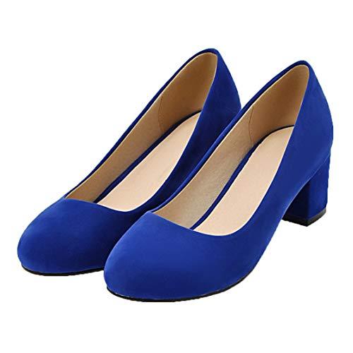 MISSUIT Damen Chunky Heels Pumps mit Blockabsatz 5cm Mid Heels Geschlossen Schuhe(Blau,38)