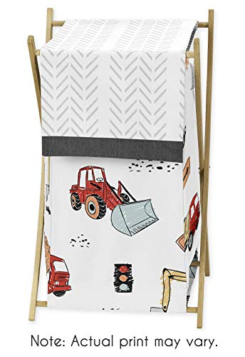 Sweet Jojo Designs Construction Truck Baby Kid Clothes Laundry Hamper - Grey Yellow Orange Red and Blue Transportation Chevron Arrow
