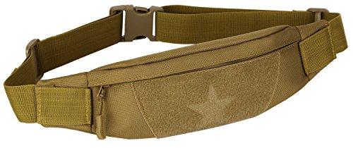 DCCN Taktische Hüfttasche Gürteltasche mit Kopfhöreröffnung Fanny Pack Waist Bag für 5,5 inch Smartphone Braun