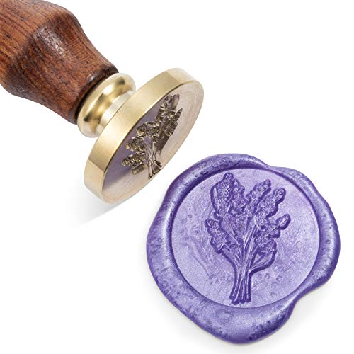 Mceal Wax Seal Stamp, Silver Brass Seal with Wooden Handle, Lavender
