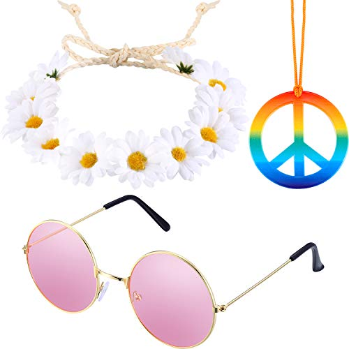 Tatuo 3 Pieces Hippie Costume Set Includes Rainbow Peace Sign Necklace, Flower Crown Headband and Hippie Sunglasses 60s 70s Dressing Accessory for Women Men