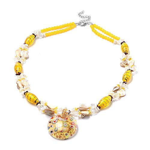 TJC Yellow Murano Beads, White Austrian Crystal, Red Garnet and Multi Gemstone Bead String Necklace Size 28' in Silver Tone