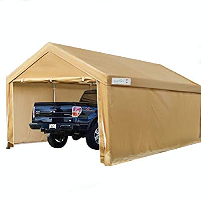 Quictent 10'x20' Heavy Duty Carport Car Canopy Galvanized Car Shelter with Reinforced Steel Cables and Ground Bars-Beige