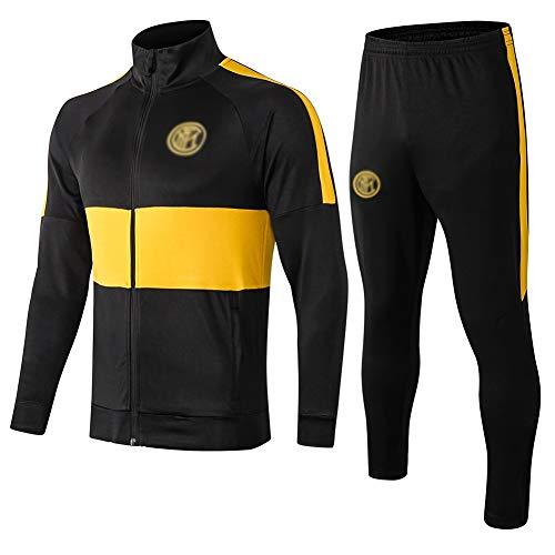ZH~K Traje de entrenamiento de club de fútbol europeo para hombre, manga larga, transpirable, ropa deportiva (parte superior + pantalones) – A1210 sudaderas para hombre (color: negro, talla: S)