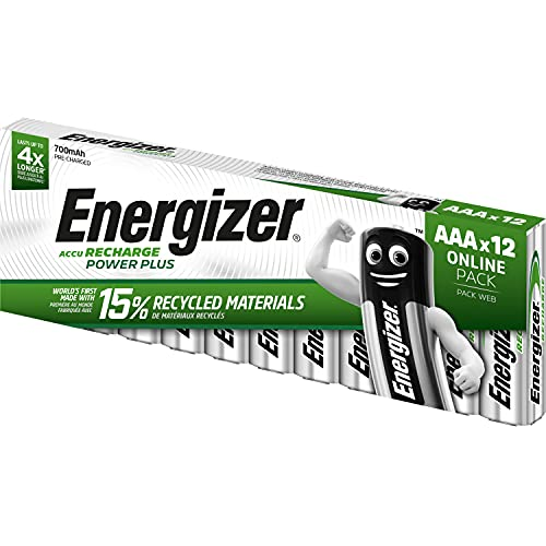 Energizer AAA Akkus, Recharge Power Plus Akku, 12 wiederaufladbare Batterien AAA (700 mAh)
