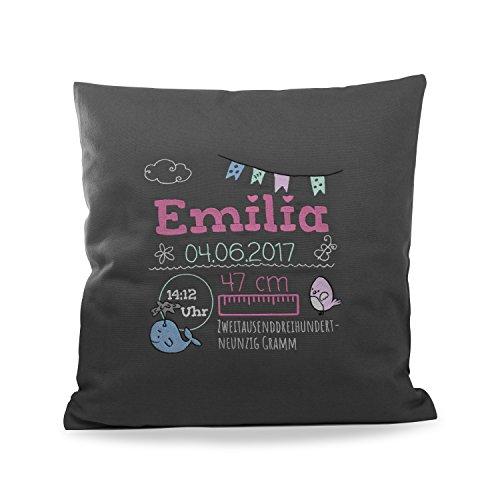 Personello® Besticktes Kissen als Geschenk zur Geburt, Babygeschenk für Mädchen mit Geburtsdaten (Namen & Datum) personalisiert, Geburtskissen, dunkelgrau