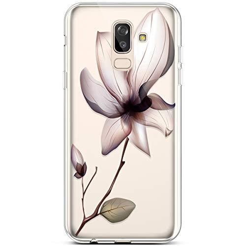 Robinsoni Cover Compatibile con Samsung Galaxy J8 2018 Cover Silicone Colorate Clear View Trasparente Cover Morbido Flessibile Caso Antiurto Cover Sottile Cartoni 360 Gradi Bumper di Gomma Custodia