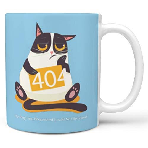 Bekende 11 oz 404 Fout Kat Water Cappuccino Mok Bekers met Handvat Keramische Humor Bekers - Grappige Programmeur Geschenken Heren Geschenken, Pak voor Restaurant gebruik
