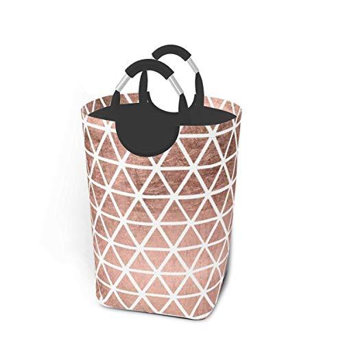 XCNGG Cubeta de lavandería plegable de gran tamaño, moderna, de imitación de oro rosa, triángulos, paquete de ropa sucia, organizador de almacenamiento para colección de juguetes, cesta de almacenamie