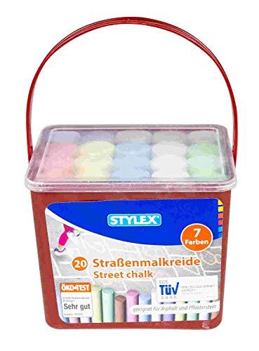Stylex 48104 - Straßenkreide im 20er Eimer, eckige Straßenmalkreide zum Bemalen von Asphalt und Pflasterstein, sortiert in 7 Farben