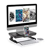 Foldable Monitor Stand Riser, Adjustable Height Computer Stand Riser with Storage Drawer Tablet Phone Stand for PC Laptop Computer (Black)