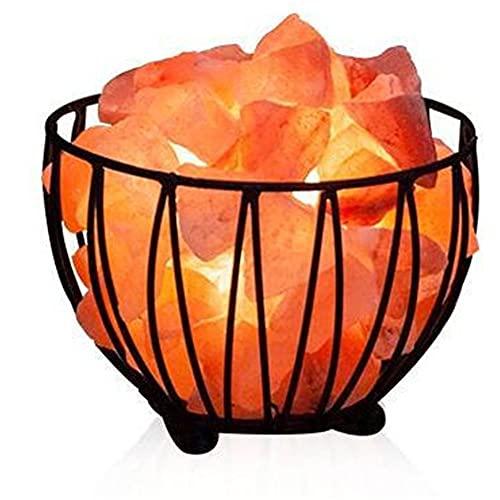 XLEVE Lámpara de Sal de Cristal de Himalaya lámpara de Roca de Hierro lámpara de Sal de Hierro Varias Formas de Noche luz de la Noche decoración de la decoración de Despertador