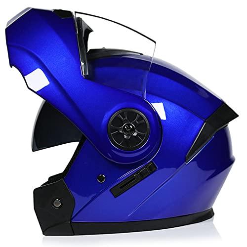Casco modular de motocicleta con doble visera para hombre y mujer, aprobado por DOT/ECE