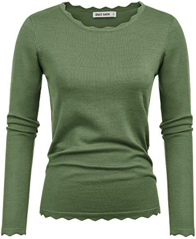 GRACE KARIN Women s Knitting Pullover Sweater Blouse Army Green Size M CL889 5 product image