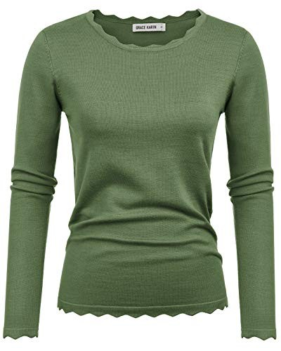 GRACE KARIN Stretchy Long Sleeve Pullover Sweater Army Green Size L CL889-5