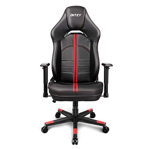 INTEY - Silla de gaming ergonómica con sillón giratorio, oriental, silla de oficina, silla de carreras, sillas de escritorio, capacidad de 150 kg, altura ajustable, color negro y rojo