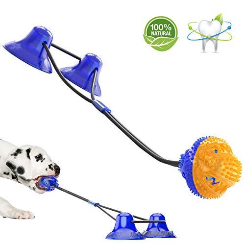 AEITPET Hundespielzeug mit Saugnapf, Interaktives Multifunktion Pet Rope Spielzeug, Hunde Pet Molar Kauseil Ball Biss chew Spielzeug Hund kauspielzeug, für Kleine mittlere große Hunde (Blau)