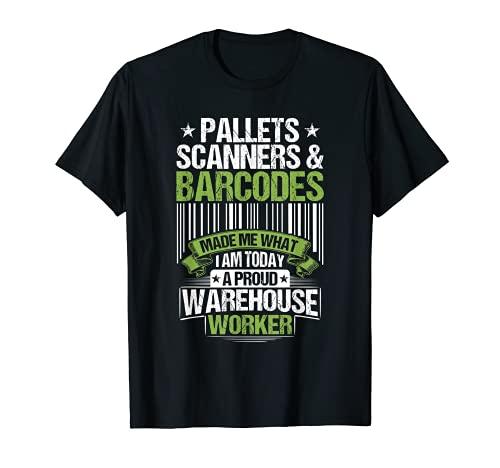 Warehouseman Pallets Scanners & Barcodes Warehouse Worker T-Shirt