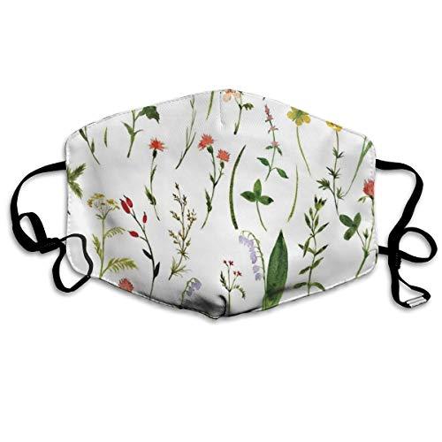 Mundschutz Atmungsaktive Gesichtsmundabdeckung Staubdichter,Set of Different Kind of Flowers and Herbs Weeds Plants Petite Earth Element Print,Gesichtsdekorationen