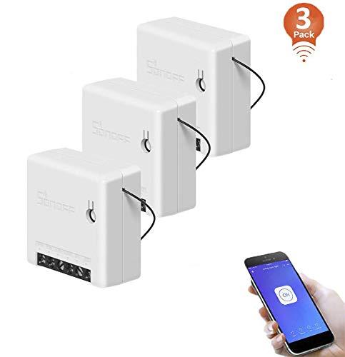3pack, SONOFF MINI Intelligenter kabelloser WLAN Lichtschalter, Universelles DIY-Modul für Automatisierungslösungen in der intelligenten Haustechnik, funktioniert mit Amazon Alexa